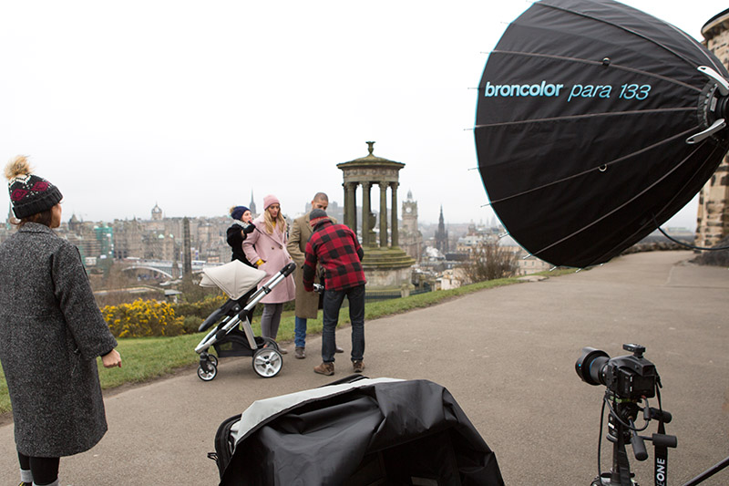 Calton Hill Edinburgh Scotland Photography shoot BTS with fashion models