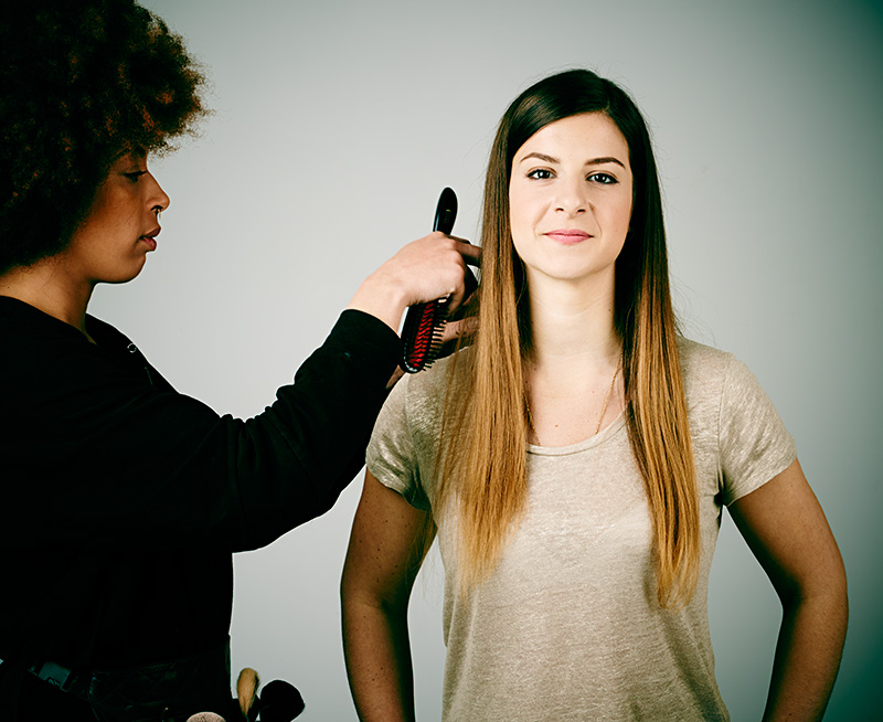 Make-up during video shoot for advertising campaign