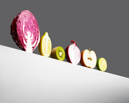 Abstract row of vegetables and fruit