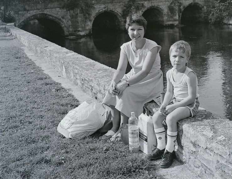 Mother and son by river Salisbury c187
