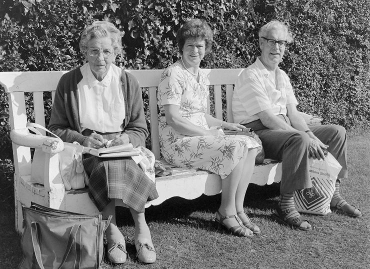 Elderly people on bench c1987 Salisbury